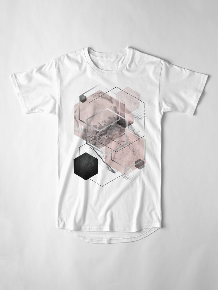 Alternate view of Blush and Grey Geometric Long T-Shirt