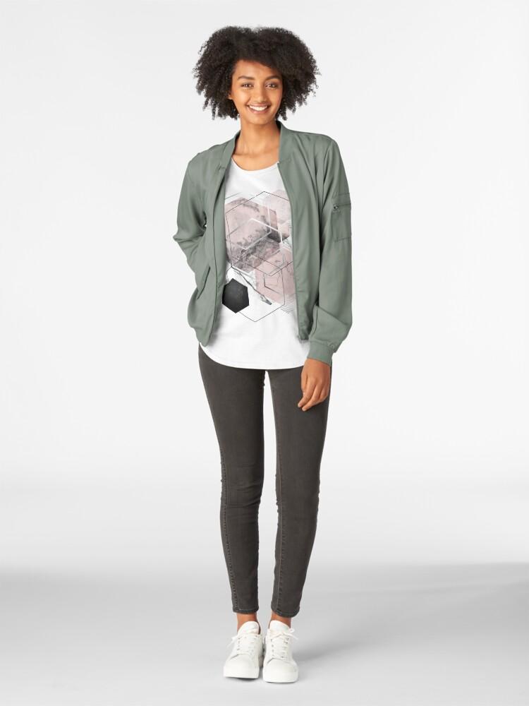 Alternate view of Blush and Grey Geometric Premium Scoop T-Shirt