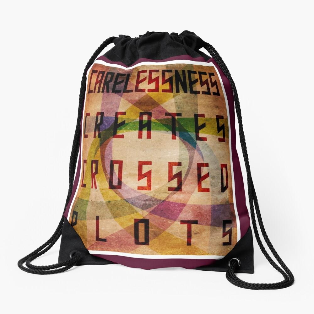 Careless Creates Crossed Plots Drawstring Bag