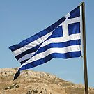 Greek national flag, Tilos island by David Fowler