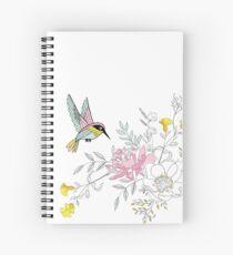 Blumenstrauß und Kolibri mit Pastellfarben Spiralblock