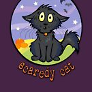 Scaredy Cat - Spooky Halloween Shirts & Stickers by CGafford