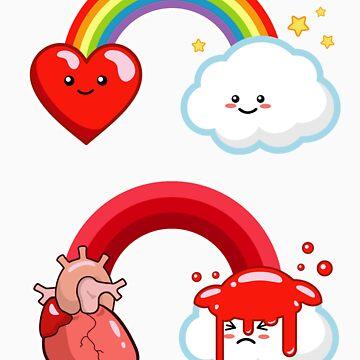Hearts and Rainbows Morbid Kawaii Graphic Tee by BeataViscera