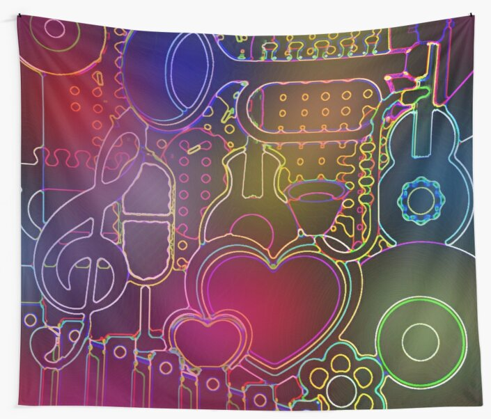 Rainbow Neon Music City Guitar Trumpet Flowers and Hearts Wall Tapestry