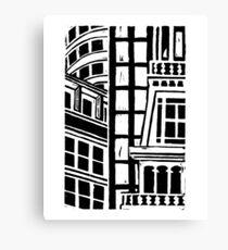City Landscape Black and White Canvas Print