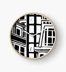 City Landscape Black and White Clock