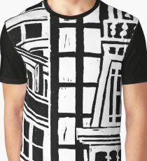 City Landscape Black and White Graphic T-Shirt