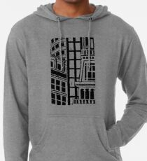 City Landscape Black and White Lightweight Hoodie