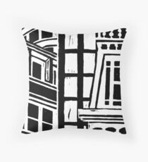 City Landscape Black and White Throw Pillow