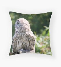 Barred owl in profile Throw Pillow