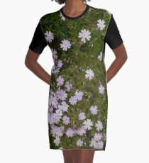 Green and Purple Watercolor Floral Pattern Graphic T-Shirt Dress