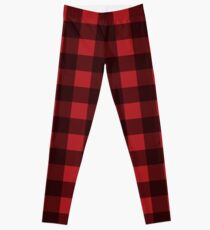 Buffalo Plaid in Lumberjack Red and Black Leggings