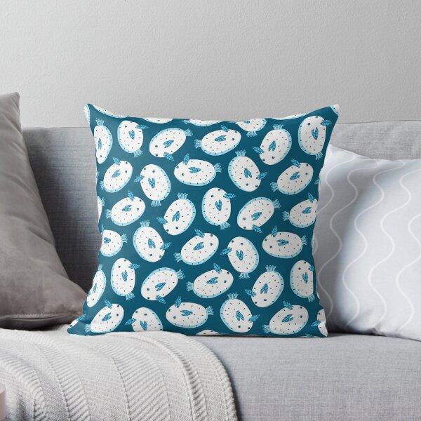 Sea Bunnies_ Blue Sea Throw Pillow