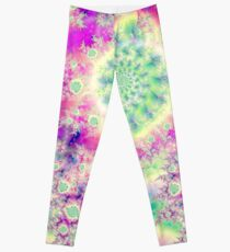 Raspberry Heart Star, the Abstract Fractal Heart Beat of Love Leggings