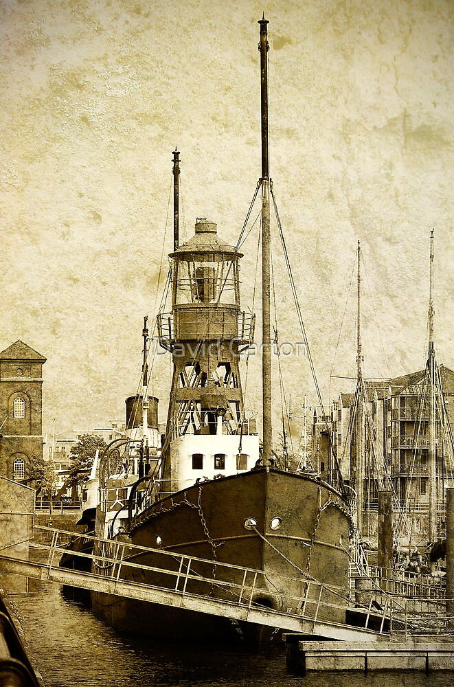 Lighthouse ship Helwick, Swansea, Wales by David Carton