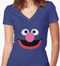 Grover face art geek funny nerd Women's Fitted V-Neck T-Shirt
