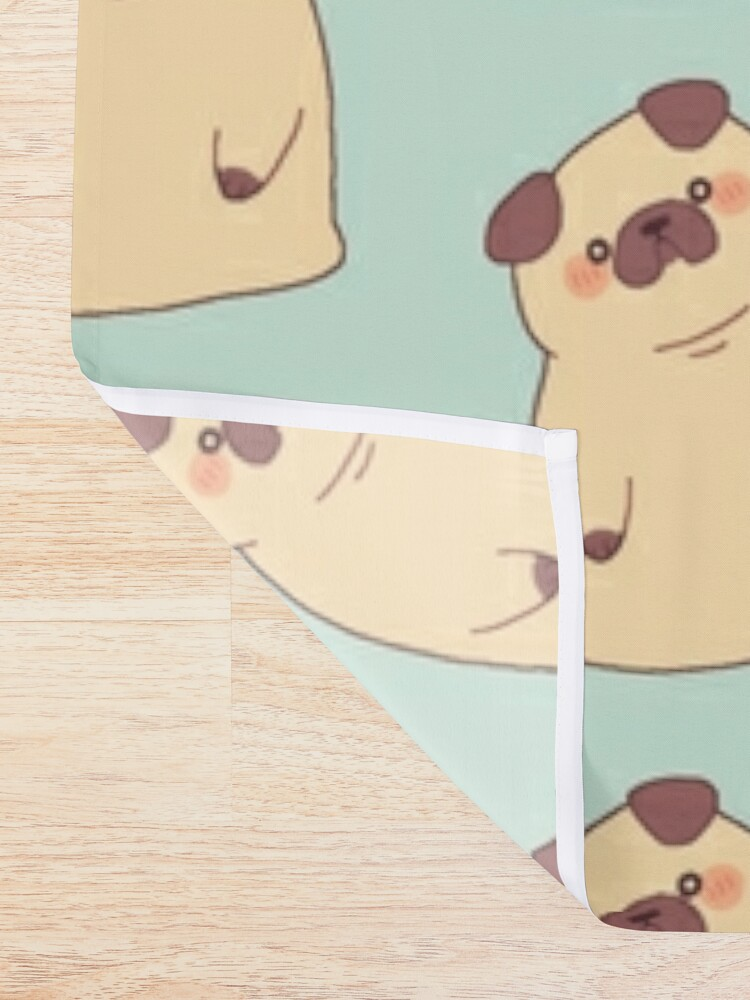 Alternate view of Cute & Confused Chubby Pixel Pug  Shower Curtain