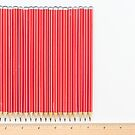 Old school red HB pencils with ruler on white background by Natalie Board