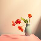 Wilting tulips by the window by Natalie Board