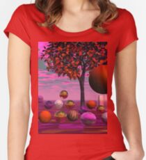 Bittersweet Opinion, Abstract Copper Raspberry Maple Tree Fitted Scoop T-Shirt