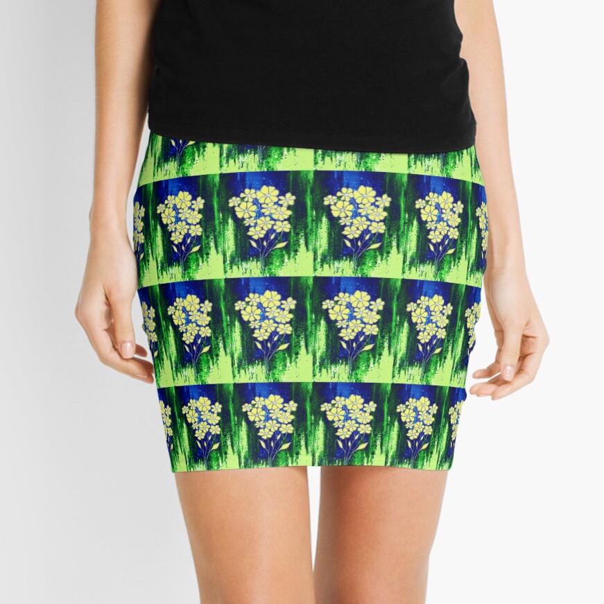 Flowers in Yellow Mini Skirt