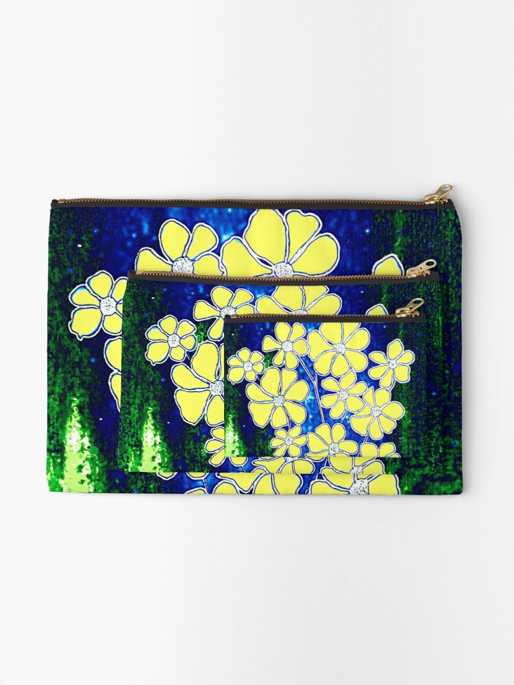Alternate view of Flowers in Yellow Zipper Pouch