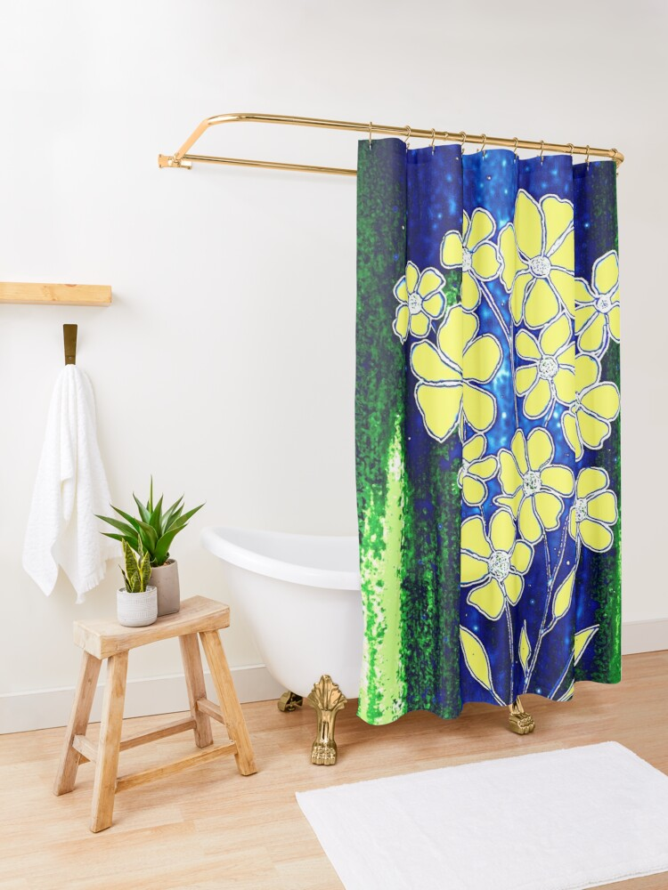 Alternate view of Flowers in Yellow Shower Curtain