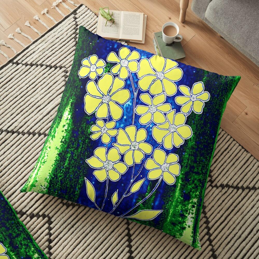 Flowers in Yellow Floor Pillow