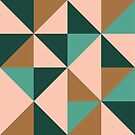 Retro Triangles in Blush Pink, Gold, and Teal by latheandquill