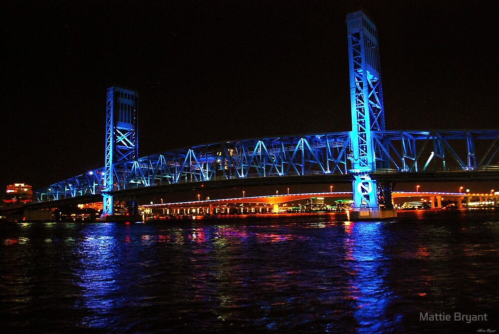 Quot Blue Bridge By Night Jacksonville Fl Quot By Mattie Bryant