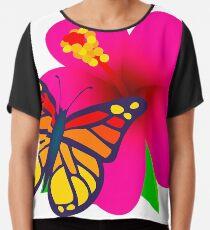 Butterfly on Pink Hibiscus Flower Joypixels Emoji Chiffon Top