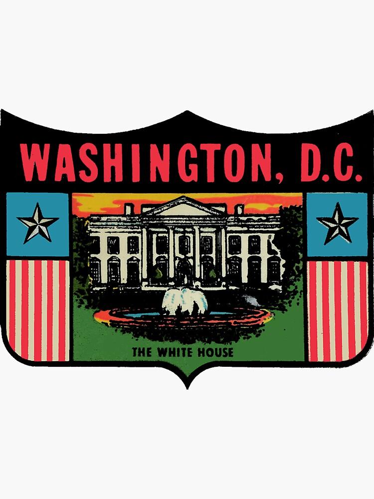 Calcomanía de viaje vintage de la casa blanca de Washington DC de hilda74