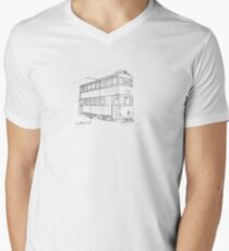 Hong Kong Double Decks Tram Mens V-Neck T-Shirt