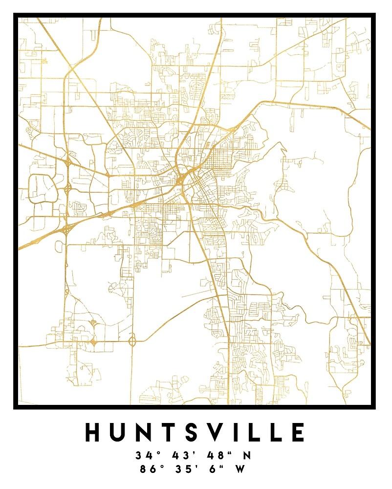 HUNTSVILLE ALABAMA CITY STREET MAP ART\