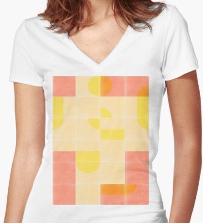 Retro Tiles 01 #redbubble #pattern Fitted V-Neck T-Shirt