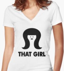 THAT GIRL Women's Fitted V-Neck T-Shirt