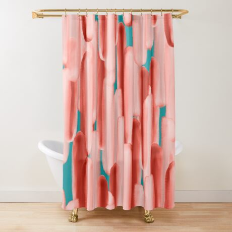Live In Coral #redbubble #abstractart Shower Curtain