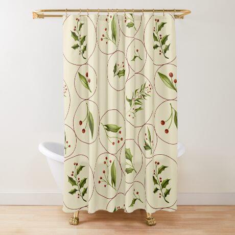 Vintage Baubles #redbubble #xmas Shower Curtain