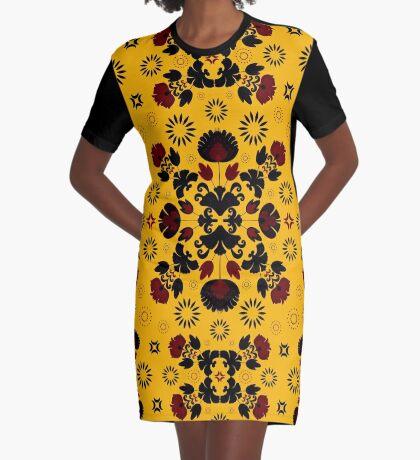 Fiesta Folk Yellow #redbubble #folk Graphic T-Shirt Dress