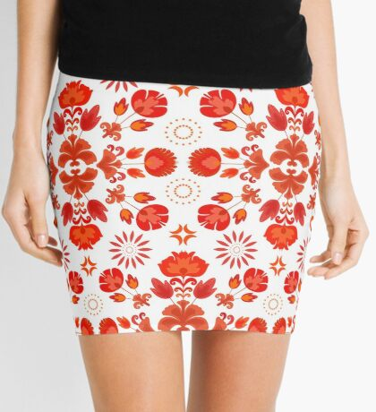 Fiesta Folk Red #redbubble #folk Mini Skirt