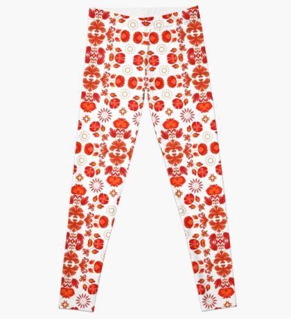 Fiesta Folk Red #redbubble #folk Leggings