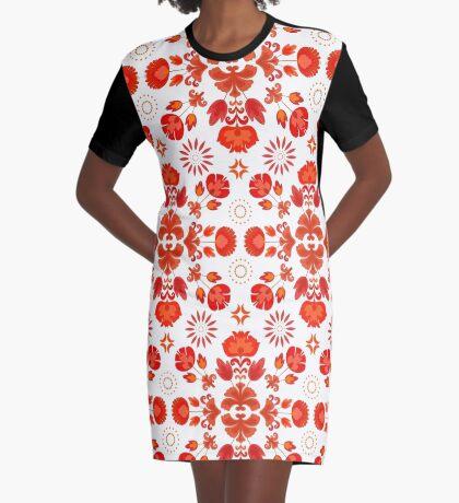 Fiesta Folk Red #redbubble #folk Graphic T-Shirt Dress