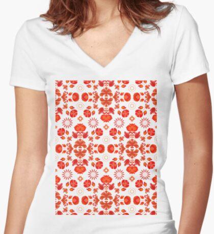 Fiesta Folk Red #redbubble #folk Fitted V-Neck T-Shirt