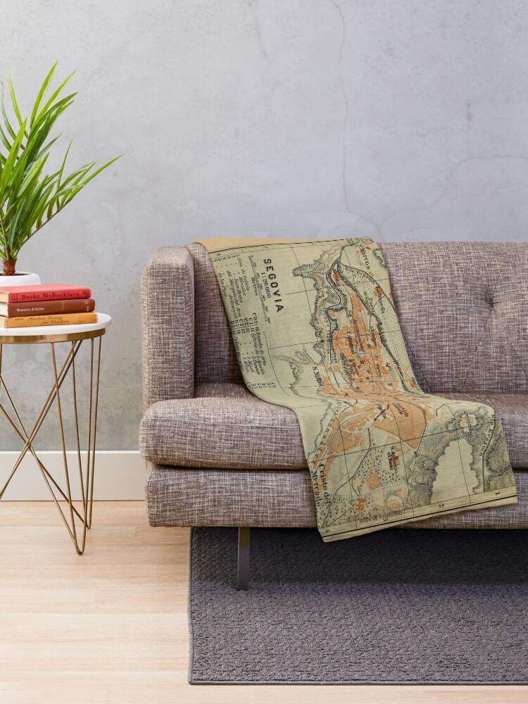 Alternate view of Vintage Segovia Spain Map (1913) Throw Blanket
