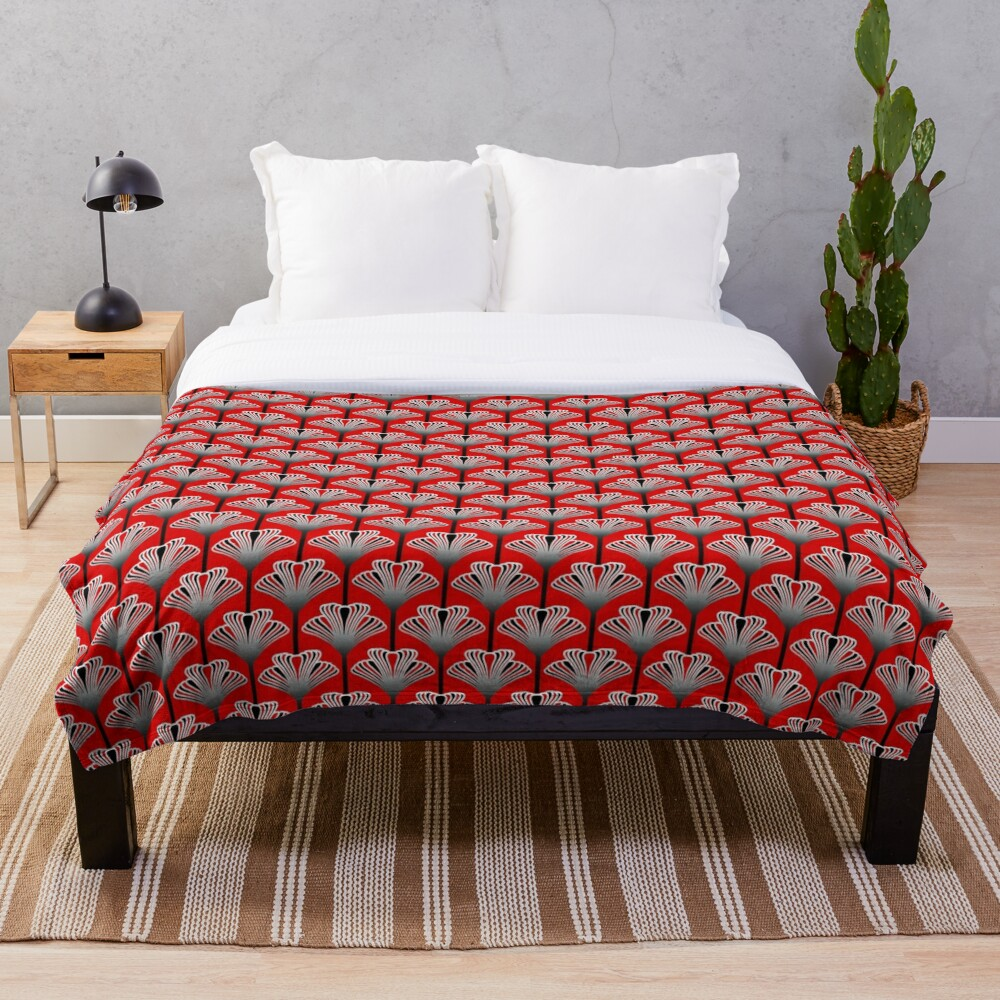 Art Deco Lily, Deep Red Throw Blanket
