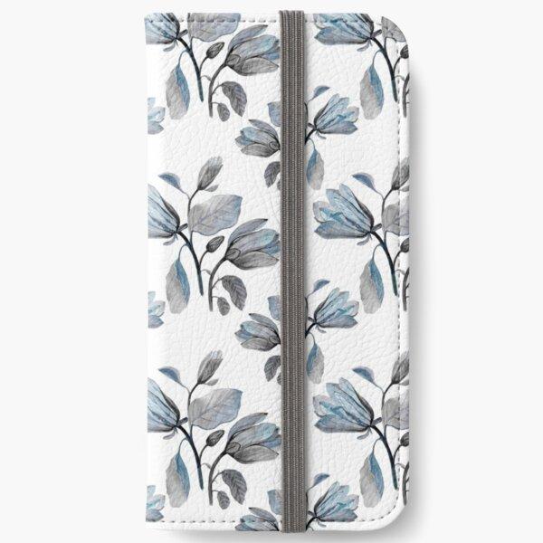 Dusty Blue Magnolia Pattern iPhone Wallet