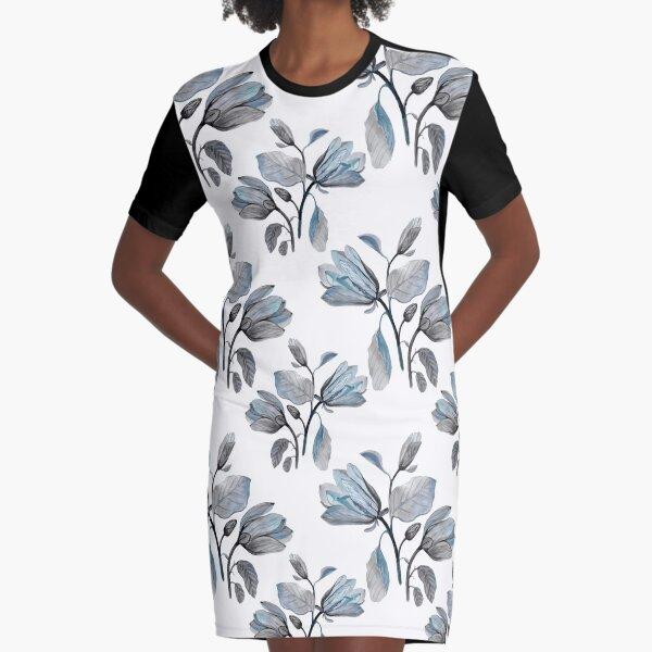 Dusty Blue Magnolia Pattern Graphic T-Shirt Dress