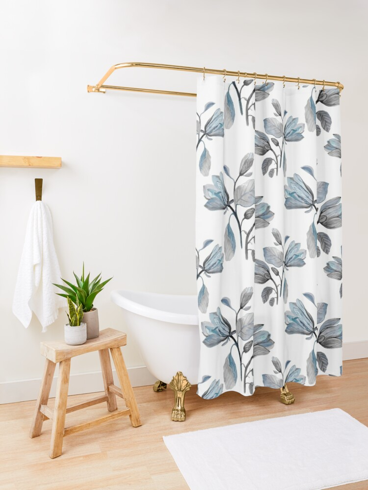 Alternate view of Dusty Blue Magnolia Pattern Shower Curtain