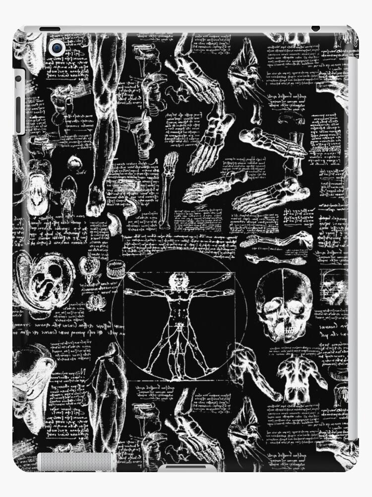'Da Vinci's Anatomy Sketches // Black' iPad Case/Skin by TLTextiles
