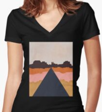 Cool Wind Desert Road Fitted V-Neck T-Shirt